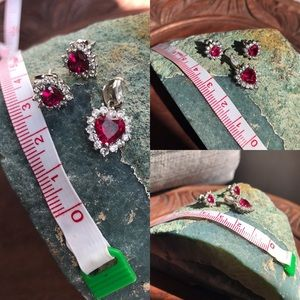 Jewelry - Ruby earrings and necklace set.